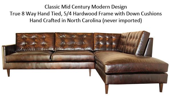 Classic Mid Century Modern Design. True 8 Way Hand Tied, 5/4 Hardwood Frame. Down Cushions. Hand Crafted in North Carolina (never imported)