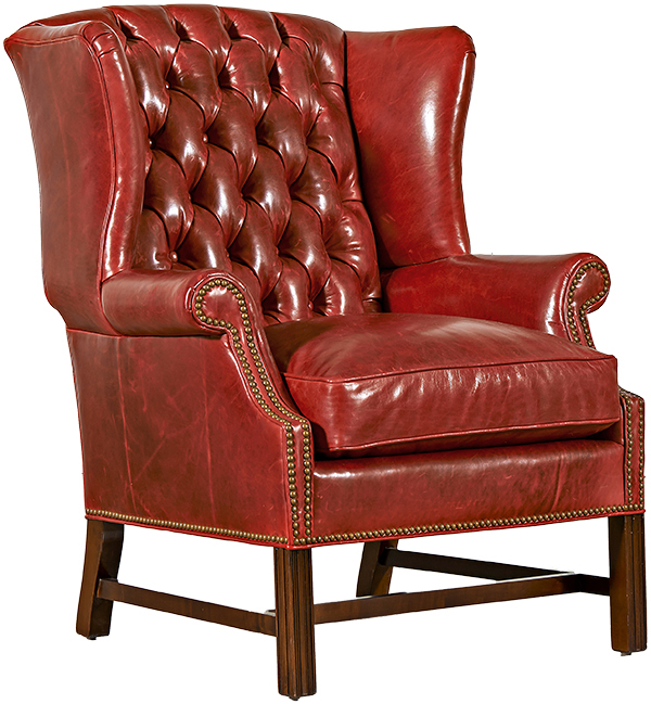 Tufted Back Chippendale Wing Chair
