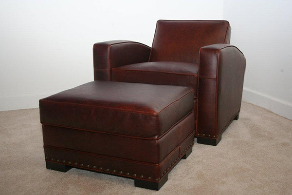 Studio Leather Chair and Ottoman