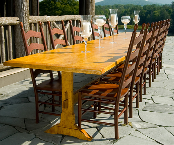 hand crafted hand planed trestle tables made in North Carolina. Choose Solid cherry, maple, Oak, Pine or Walnut.